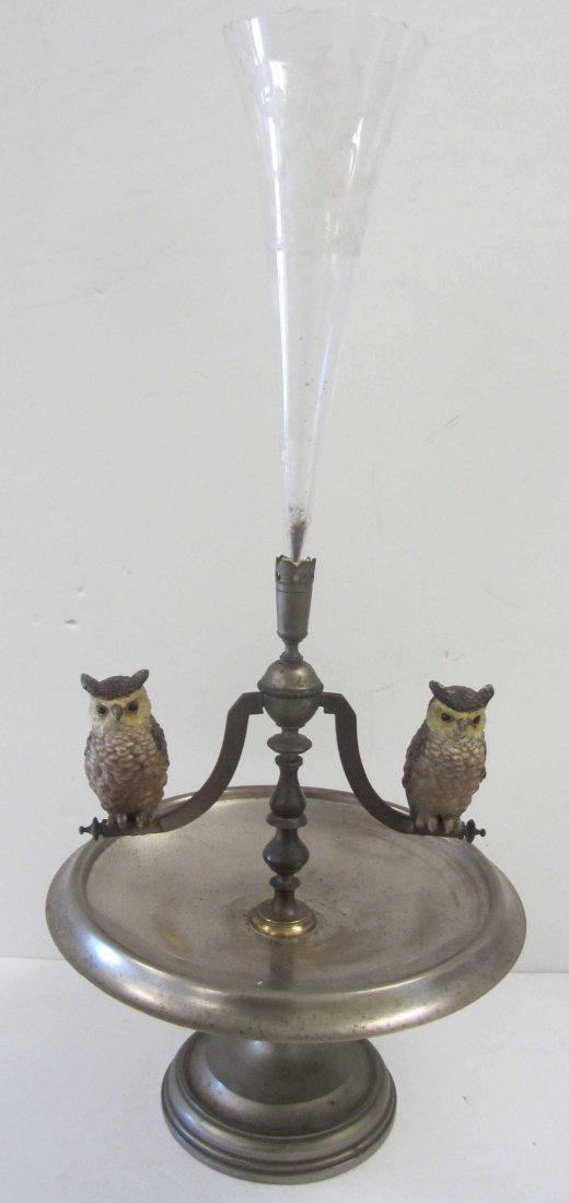 19th C. Silverplate epernge with owls