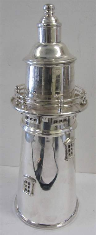 0th C. Silverplate lighthouse cocktail shaker