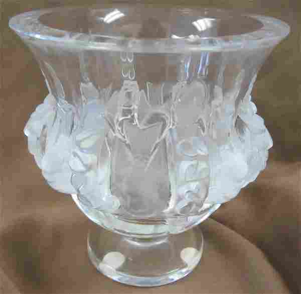 Signed Lalique vase with birds