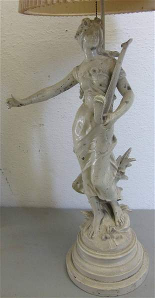 C1900 White Metal statue lamp
