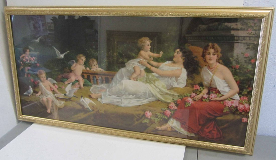 Large Ea. 20th C. Print of women and cupids