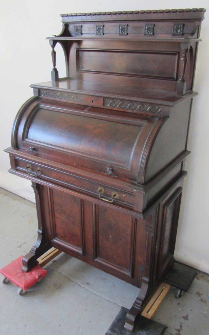 19th C. American Eastlake cylinder davenport desk
