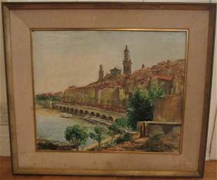 C1987 Oil painting by Mazo French Italian artist