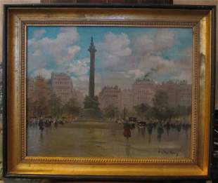 French oil on canvas painting signed A. Claudius