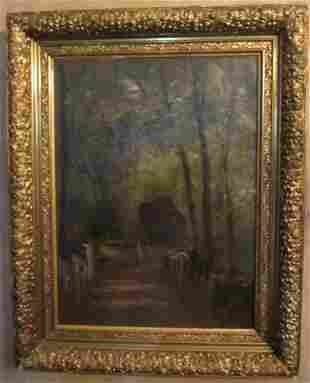 19th C oil painting with original gilt frame signd