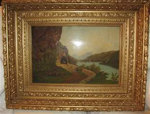 Hudson River style oil on canvas painting