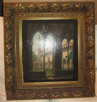 19th C. Oil on canvas with original frame