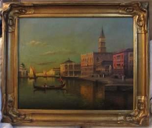 Rare Venetian painting signed Pierre Rosenau