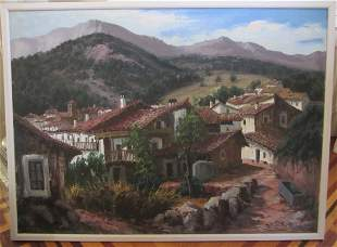 20th C. Villiage in Mountains signed Benedicto