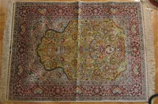Ea. 20th C. Silk rug with gold threads