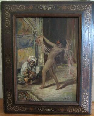 Small 19th C. Signed Moroccan style painting