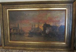 Ea. 20th C. painting of harbor scene signed
