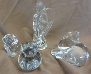Lot of 4 Signed Baccarat crystal paperweights