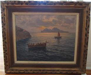 Seascape with boats Signed A. Udierna