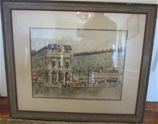 Ea. 20th C. Signed Watercolor street scene