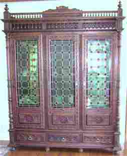 Oak Bookcase with 3 leaded glass doors