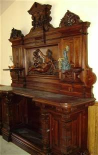 C1875 Victorian Renaissance walnut backbar