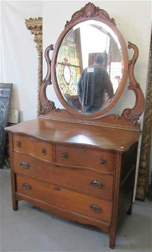 Large C1890 Quartersawn oak American dresser