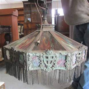 19th C. Gothic revival bronze mounted fixture