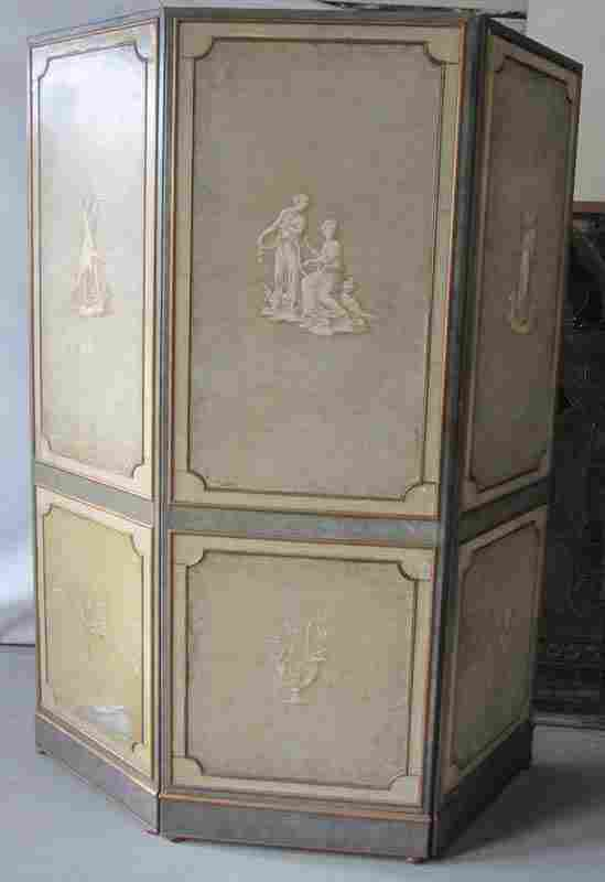 19th C. Adams style 3 part leather screen
