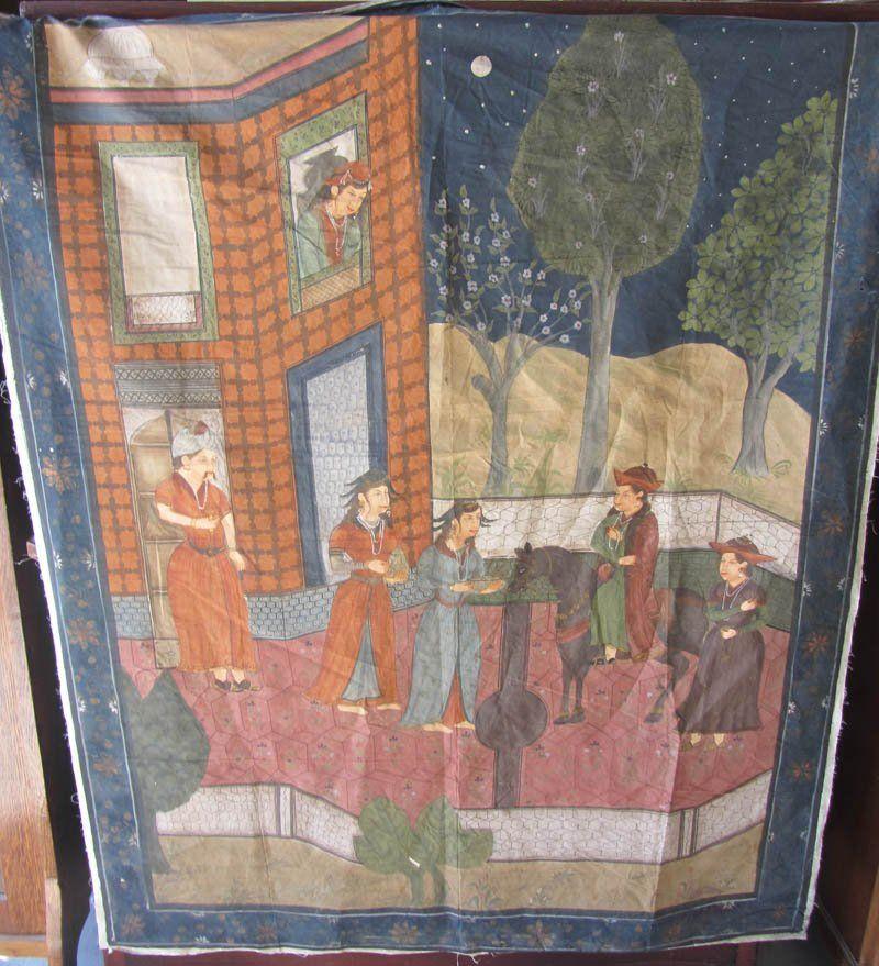 20th C. Oriental painting on fabric