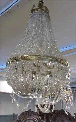 C1900 Bronze and crystal chandelier