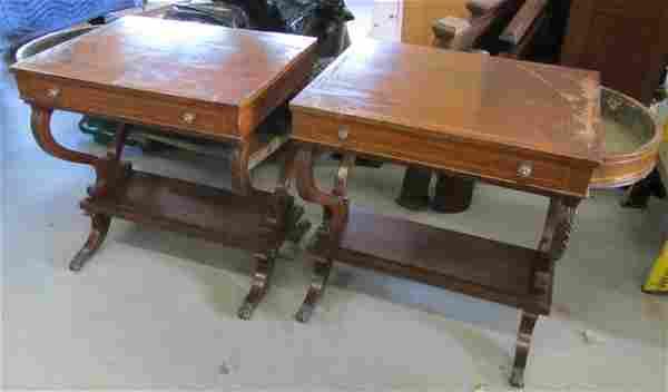 Pr. Detail inlaid regency style rosewood endtables