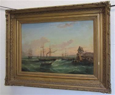 19th C. Museum Quality painting of harbor scene