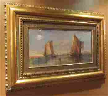 19th C. Signed Otto Blum oil painting of sailboats