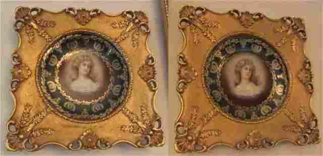 Pr. 20th C. Bavarian plates in gilt frames