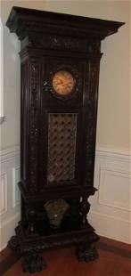 Italian detail carved walnut grandfather clock