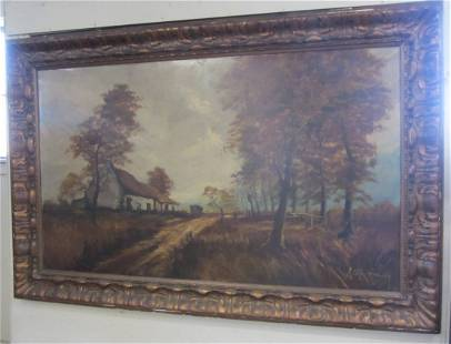 Monumental Signed 19th C. French country scene