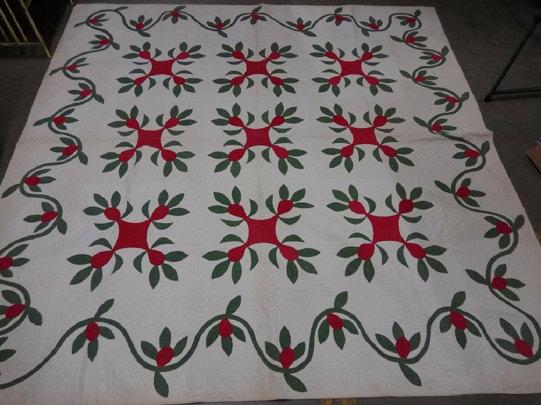 """Vintage Hand Stitched Quilt, approx. 82"""" x 82"""""""