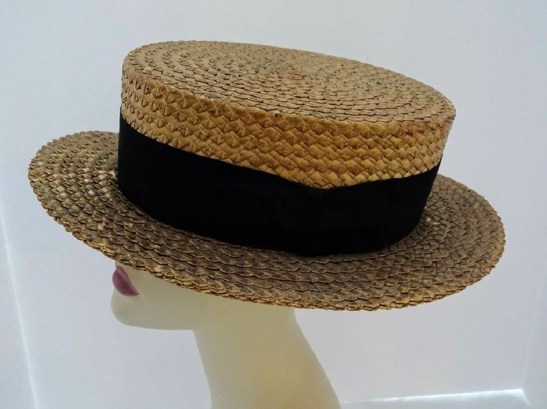 Men's Vintage Straw Boater Hat, Macartney's, size 7 3/8 - 2