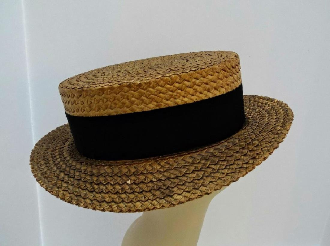Men's Vintage Straw Boater Hat, Macartney's, size 7 3/8 - 4