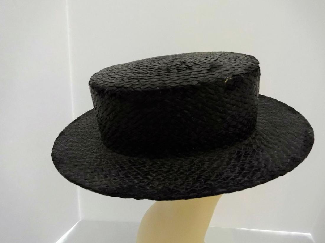 Men's Vintage Straw Boater Hat, painted Black, size 7