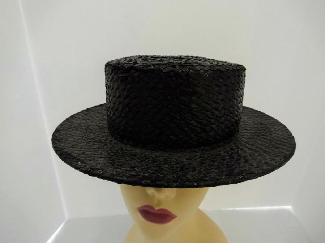 Men's Vintage Straw Boater Hat, painted Black, size 7 - 2