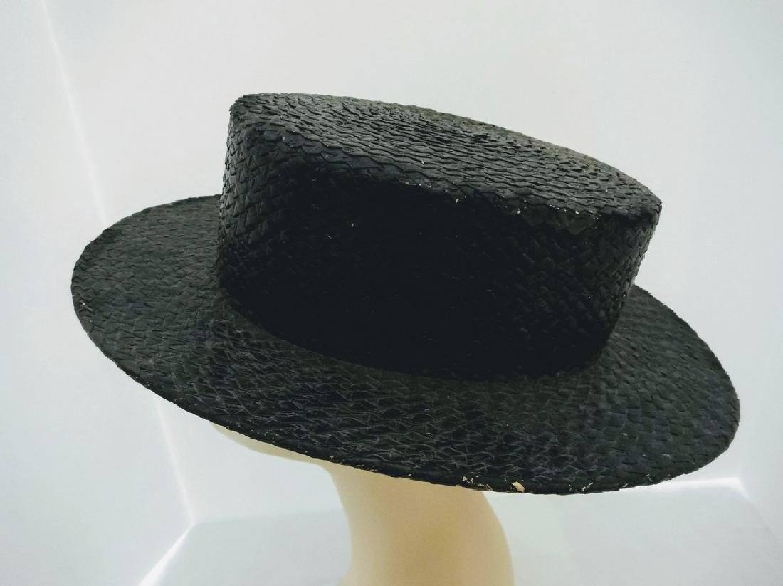Men's Vintage Straw Boater Hat, painted Black, size 7 - 3