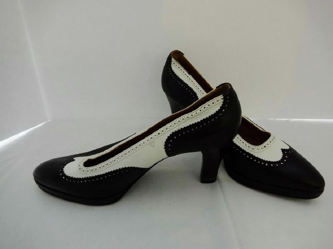 "Women's ""Hermes"" Black and White Women's Wingtip wedge - 4"