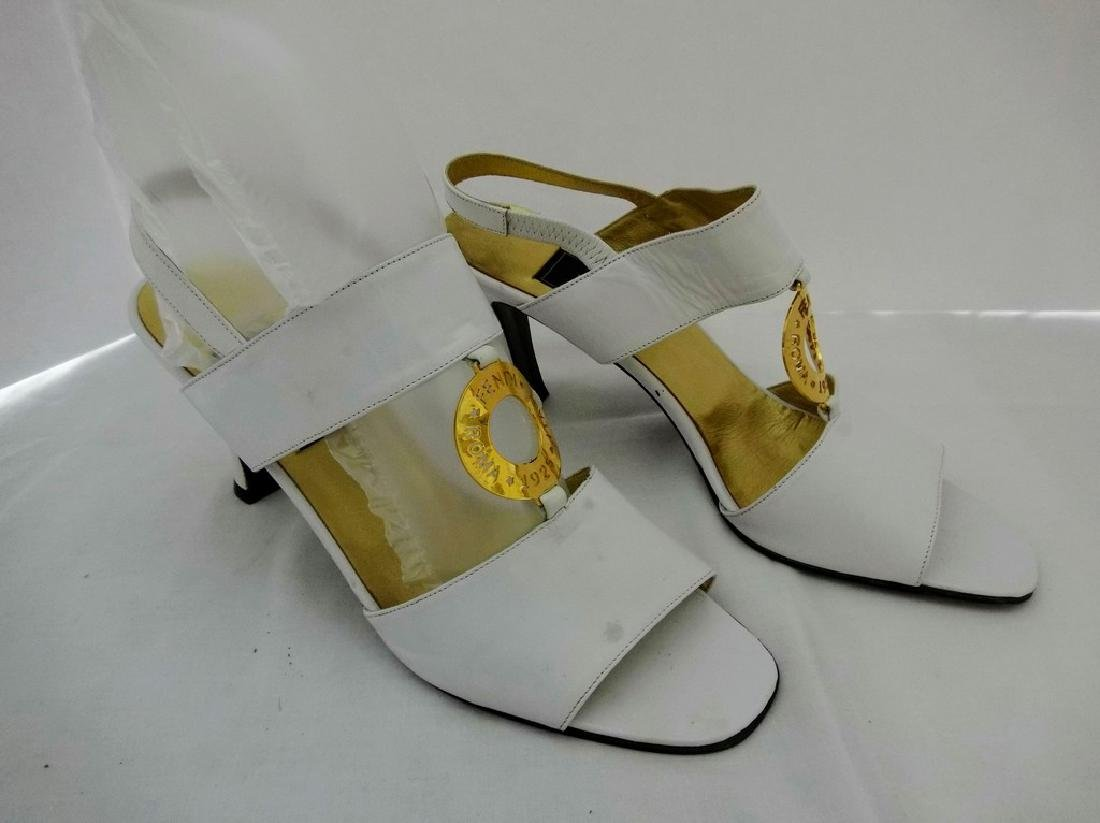 """Women's """"Fendi"""", white and gold sandals, made in Italy,"""