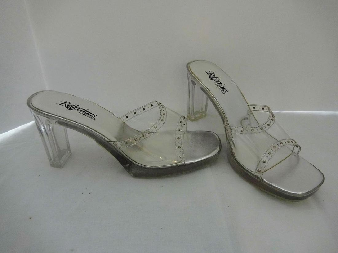 """Large size 11 Women's Lucite Shoes, """"Reflections by"""