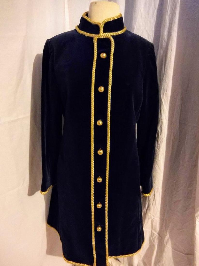 """Bill Blass"" 1960's Ladies Vintage Navy Blue Velvet and"