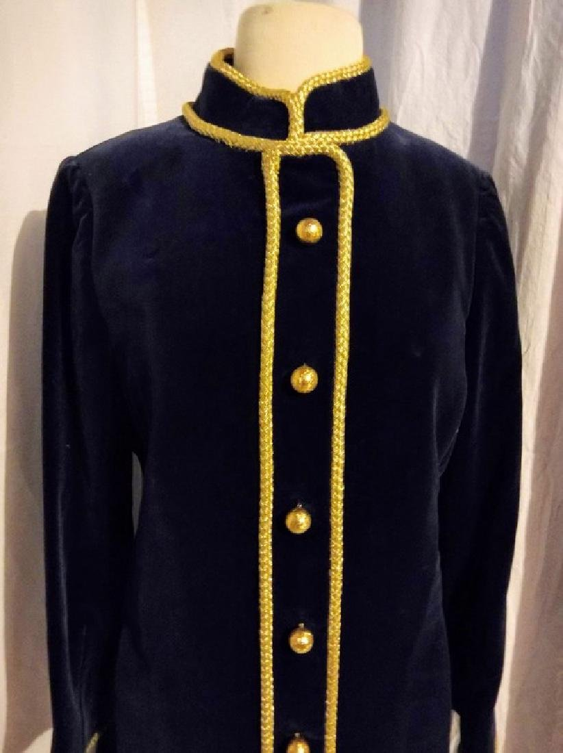 """Bill Blass"" 1960's Ladies Vintage Navy Blue Velvet and - 3"