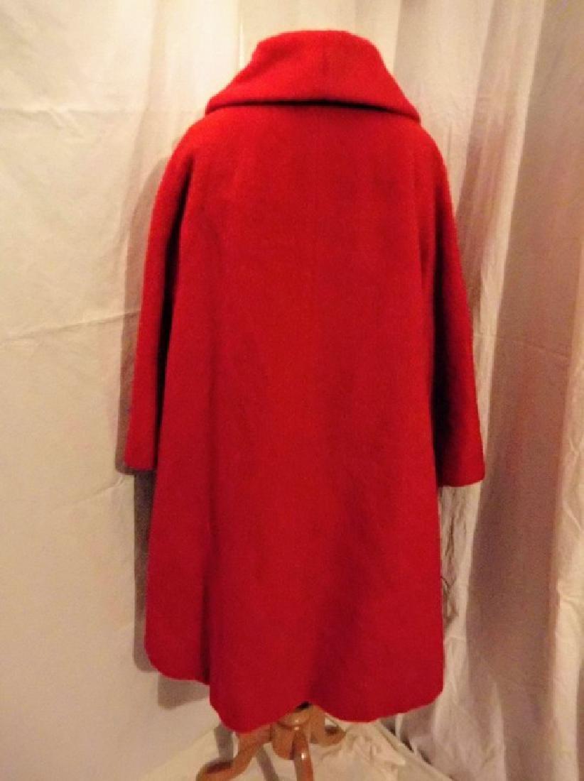 """Lilli Ann"" Paris, Vintage Women's Red Wool Swing Coat - 4"