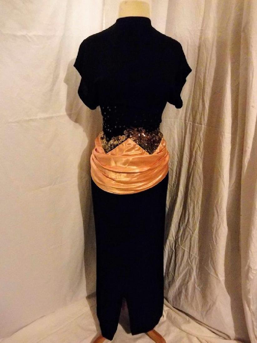 1930's Black Rayon blend Dress with Sequin & Satin