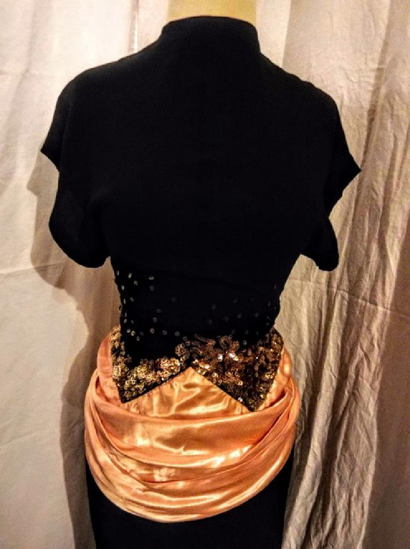 1930's Black Rayon blend Dress with Sequin & Satin - 2