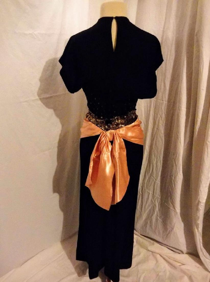 1930's Black Rayon blend Dress with Sequin & Satin - 4