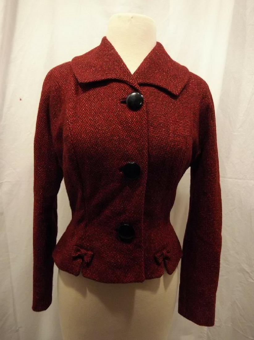Vintage Women's Red Wool Tweed 1940's Jacket