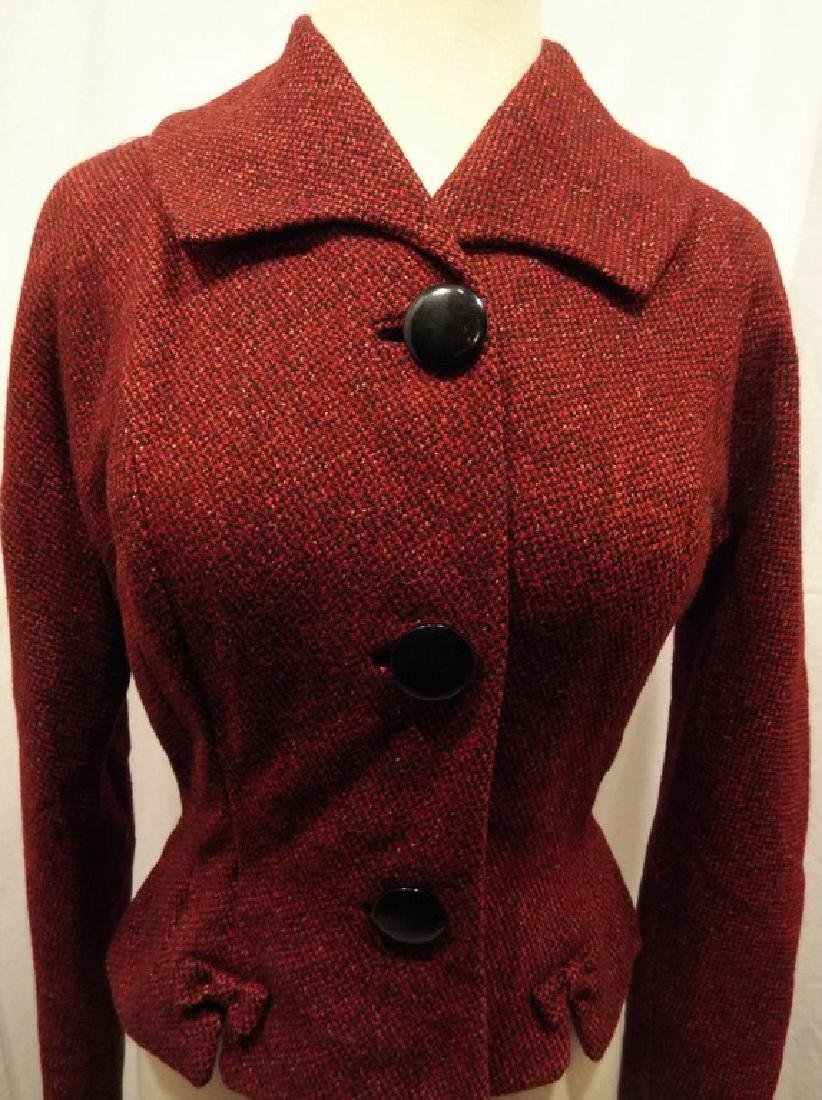 Vintage Women's Red Wool Tweed 1940's Jacket - 2