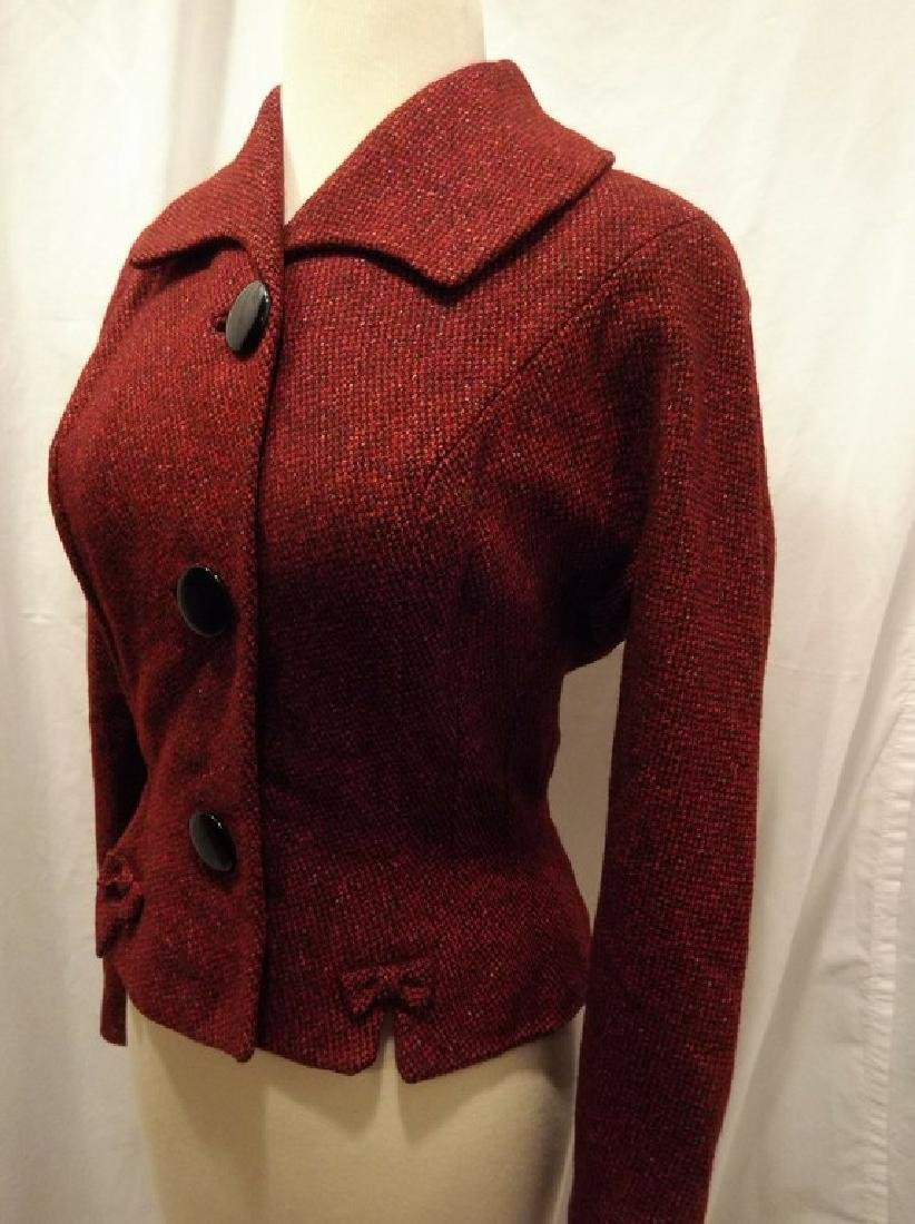 Vintage Women's Red Wool Tweed 1940's Jacket - 3